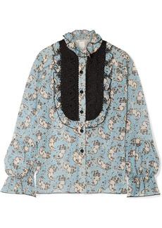 Anna Sui Ruffled Crochet-trimmed Printed Silk-chiffon Blouse