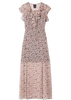 Anna Sui Scattered Flowers Ruffled Floral-print Silk-chiffon Midi Dress