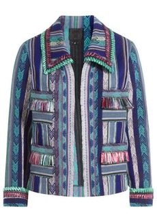 Anna Sui Serape Striped Jacket with Fringe
