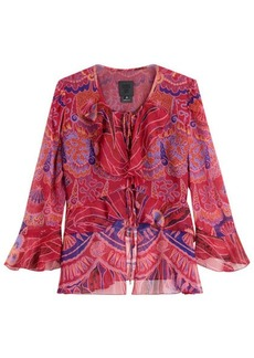 Anna Sui Shell Print Silk Top with Ruffle Trim