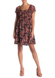 Anna Sui Silk Chiffon Coral Printed Babydoll Dress