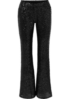 Anna Sui Sparkling Nights Sequined Mesh Flared Pants