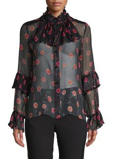 Anna Sui Pleated Pop Bouquet Blouse