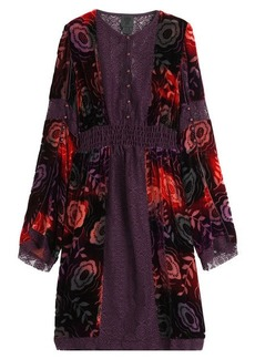 Anna Sui Velvet Dress with Lace Trims