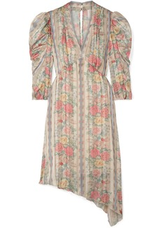 Anna Sui Whisper Rose Floral-print Asymmetric Satin Dress