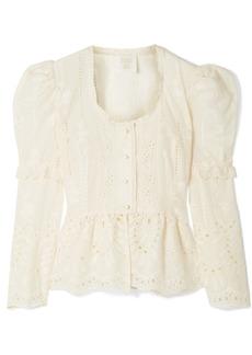 Anna Sui Wild Jasmine Broderie Anglaise Cotton Peplum Blouse