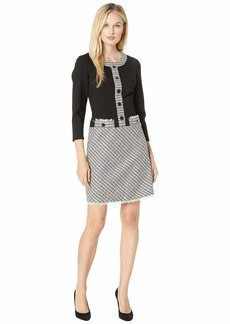 Anne Klein A-Line Eyelet Tweed Fit & Flare Dress
