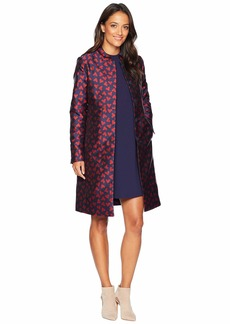 Anne Klein Abstract Hearts Nehru Collar Long Coat