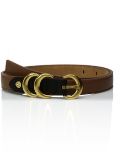 AK Anne Klein Women's Anne Klein 20mm Skinny Belt with Contrast Tab and Double Metal Keepers Antelope/black L