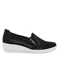 Anne Klein Akbois Perforated Leather Slip-On Wedge Sneakers