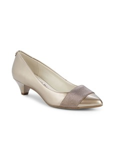 Anne Klein Xaria Metallic Kitten Heel Pumps