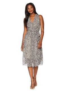 Anne Klein Animal Print V-Neck Midi Dress