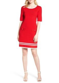 Ann Klein New York Stripe Border Knit Sheath Dress