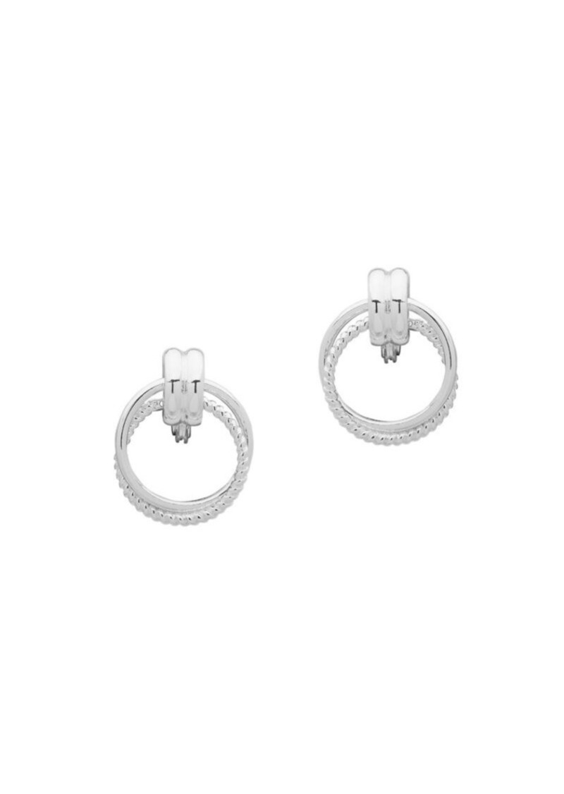 Anne Klein 2-Pair Round Silvertone Clip-On Earrings
