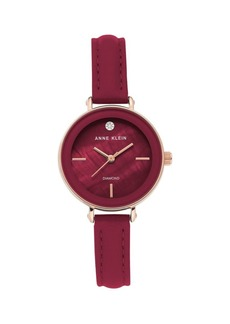 Anne Klein Analog Burgundy & Rose-Goldtone Leather Strap Watch