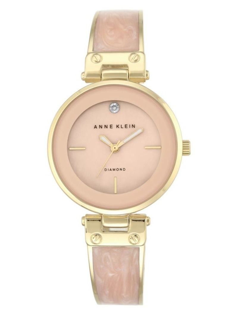 Anne Klein Analog Enamel Filled Bangle Bracelet Watch