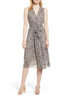 Anne Klein Animal Print Chiffon Midi Dress
