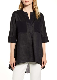 Anne Klein Asymmetrical Hem Linen Tunic Top