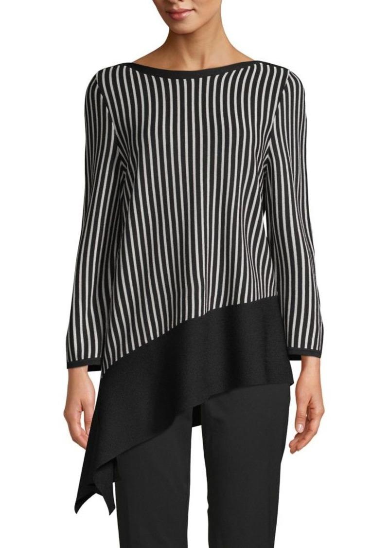 Anne Klein Asymmetrical Striped Top