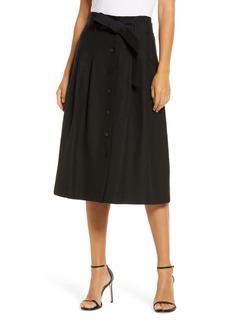 Anne Klein Belted Button-Up Linen Blend Skirt