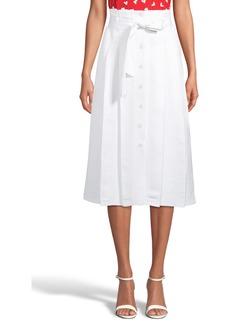 Anne Klein Belted Linen Blend Skirt