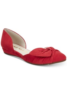 Anne Klein Bette Ruched Pointed-Toe d'Orsay Flats