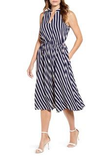 Anne Klein Bias Stripe Drawstring Midi Dress