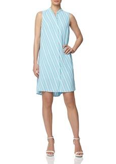 Anne Klein Bias Stripe Sleeveless Trapeze Dress