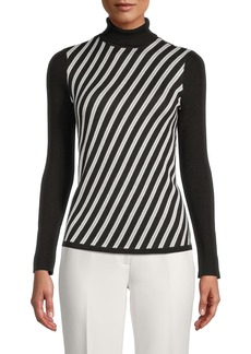 Anne Klein Bias Stripe Turtleneck Sweater