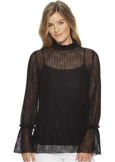 Anne Klein Black Lace Blouse with Flare Sleeves