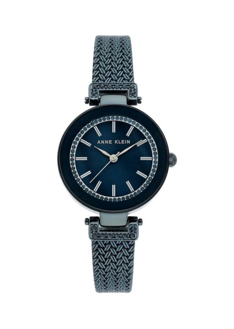 Anne Klein Blue IP & Swarovski Crystal Mesh Bracelet Watch