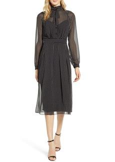 Anne Klein Bolshoi Dot Long Sleeve Shirtdress