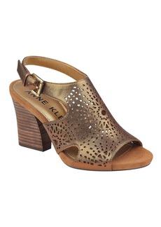 Anne Klein Briella Cutout Open Toe Leather Sandals