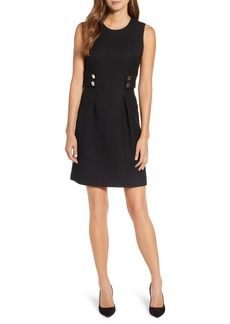 Anne Klein Button Detail Fit & Flare Dress