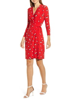 Anne Klein Chatterly Rose Classic Long Sleeve Wrap Dress
