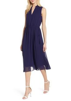 Anne Klein Chiffon Drawstring Midi Dress
