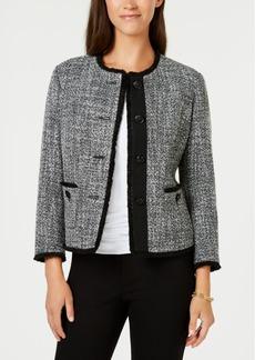 Anne Klein Collarless Fringed Tweed Blazer, Created for Macy's