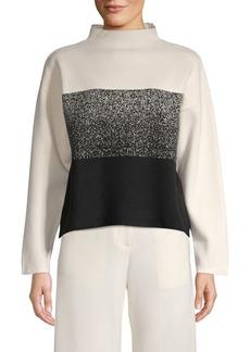 Anne Klein Colorblock Mockneck Sweater