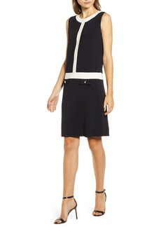 Anne Klein Colorblock Sleeveless Shift Sweater Dress