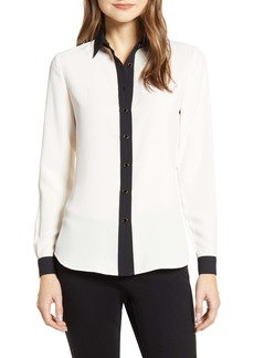 Anne Klein Contrast Detail Button-Up Blouse