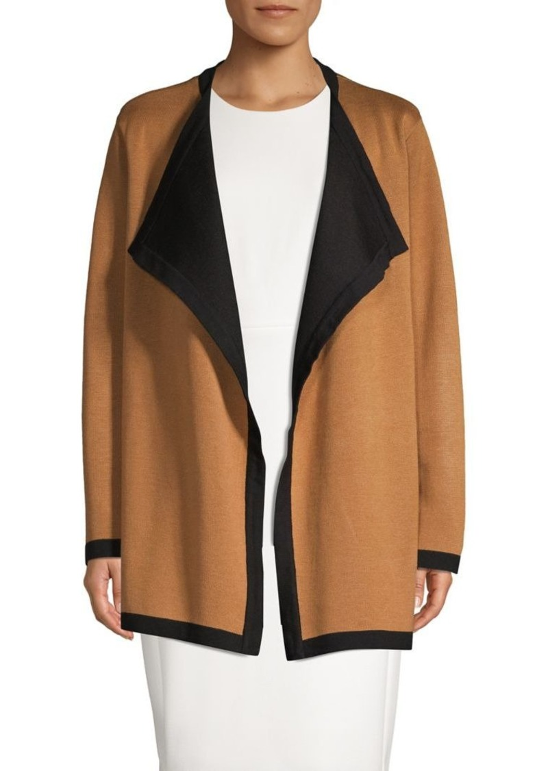 Anne Klein Contrasting Open-Front Cardigan