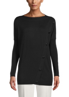Anne Klein Covered Button Detail Tunic Sweater