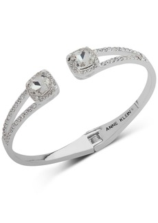 Anne Klein Crystal & Pave Hinged Bangle Bracelet, Created for Macy's