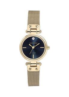 Anne Klein Diamond-Accent Navy Dial Goldtone Mesh Bracelet Watch