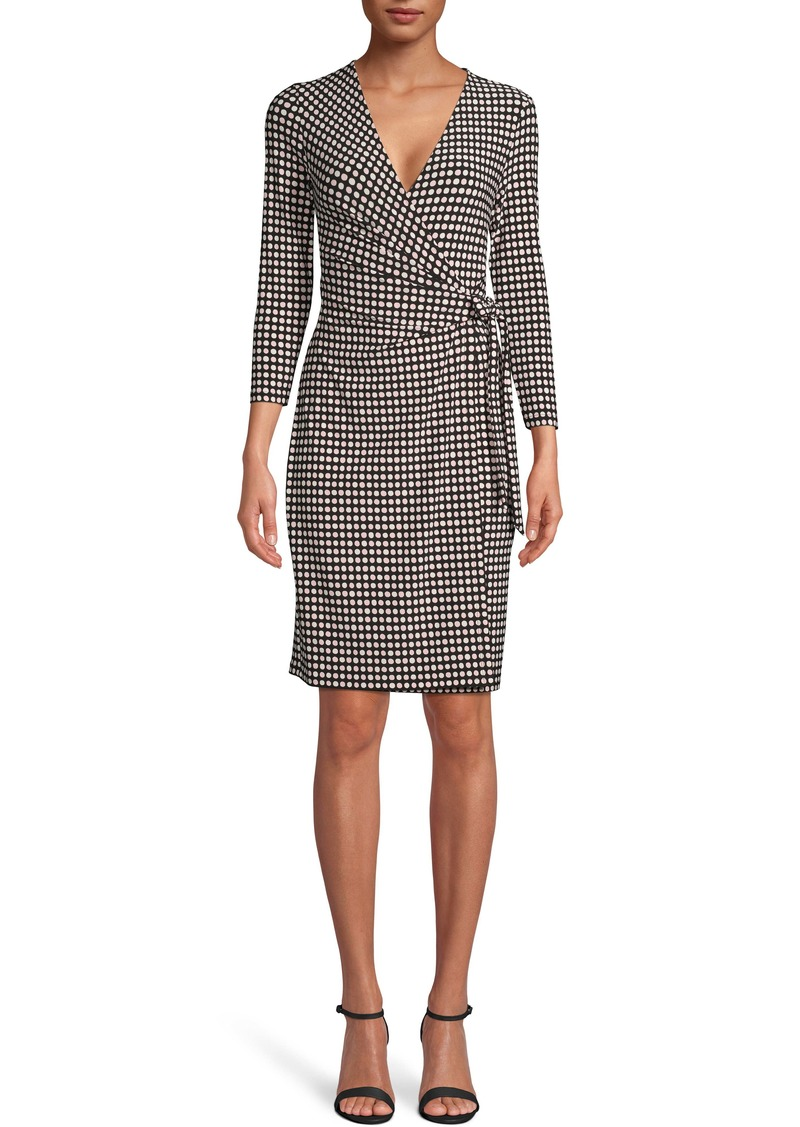 Anne Klein Dot Grid Faux Wrap Dress