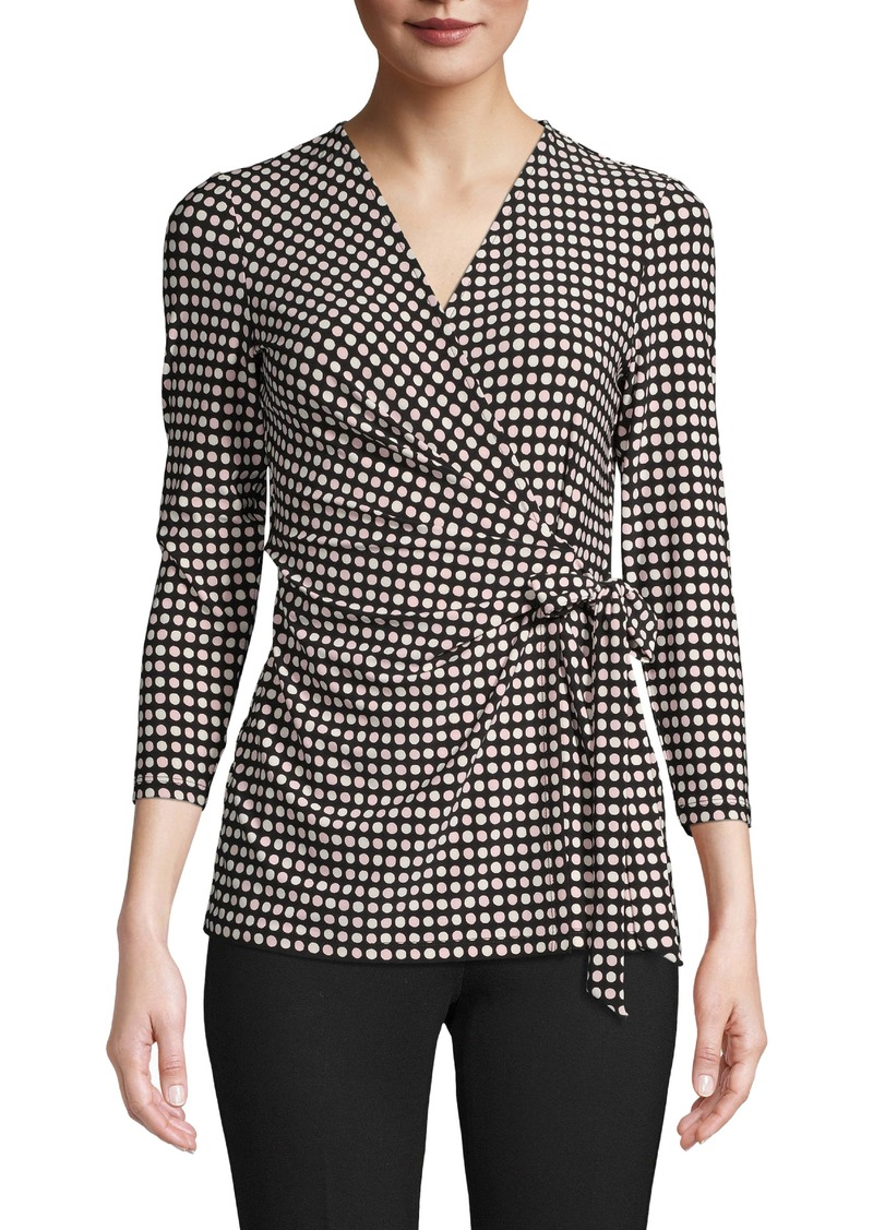 Anne Klein Dot Grid Faux Wrap Top