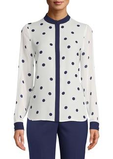 Anne Klein Dot Print Button Front Blouse