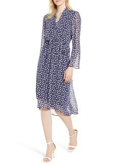 Anne Klein Dot Print Chiffon Midi Dress