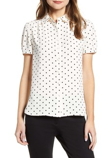 Anne Klein Dot Print Collared Short Sleeve Blouse