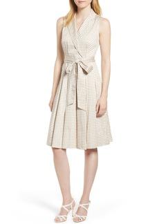 Anne Klein Dot Print Faux Wrap Cotton Dress